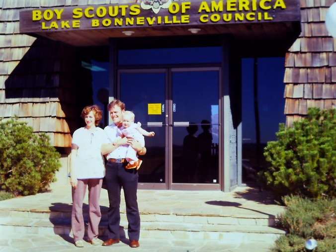 LAKE BONNEVILLE SCOUT OFFICE WITH KEVIN LOU JACKIE AUG 1980