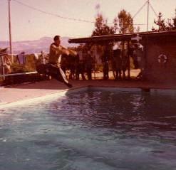 KEVIN JUMPING INTOPOOL AT RANCHO ALLEGRE