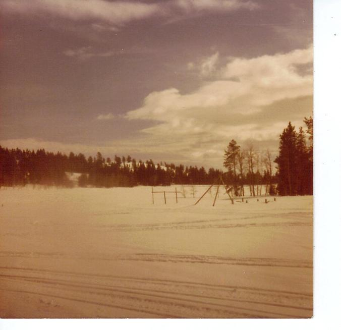 BARTLETT LOOKING TOWARD LAKE FROM LODGE ROOF FEB 1982
