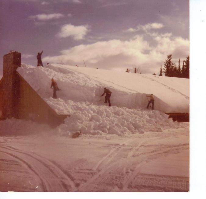 BARTLETT SHOVELING SNOW FROM LODGE FEB 1982